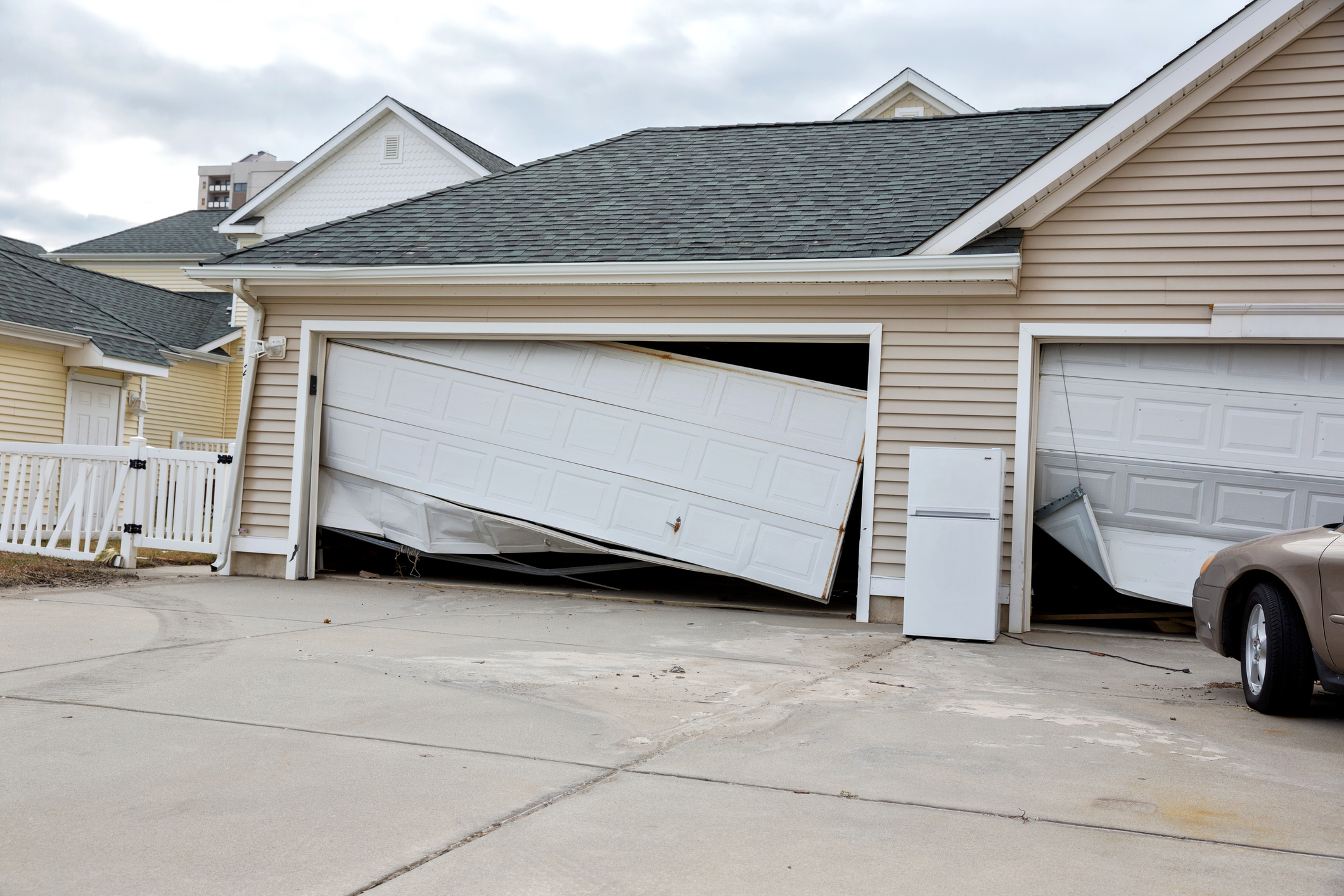 Hurricane damage to garage door